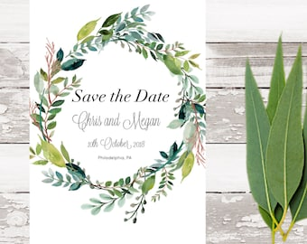 Save the Date magnet-Floral Wreath Save the Date-Custom save the date-Rustic save the date-Wedding magnet-Save the Date postcard magnet
