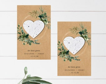 Seed Favors Plantable Seed Paper Hearts Rustic Fully Assembled Plantable Baby in Bloom Favors Seed Packet 2870