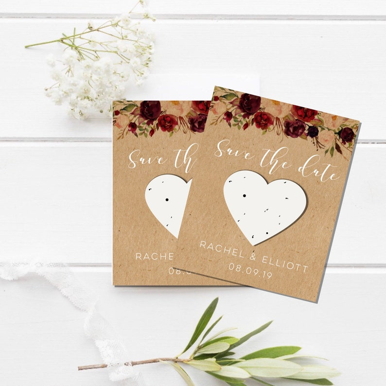 Plantable Save the Date-seed paper save the date-Floral Wreath Save the Date-Custom save the date-Rustic save the date-plantable heart-seed