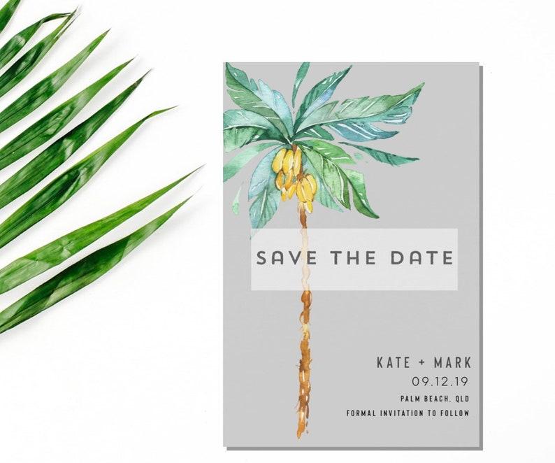 Destination Wedding Save the Date postcard magnet-Palm Save the Date-Save the date magnets-Custom Save the date-Save the date postcard