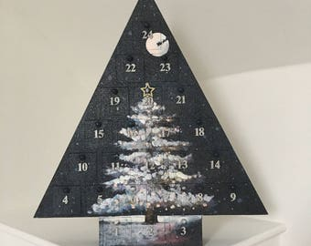 Hand Painted Wooden Advent Calendar Christmas Tree
