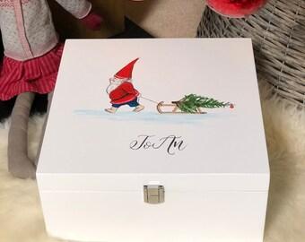 Hand Painted, Personalised, Wooden Christmas Eve/Keepsake Box
