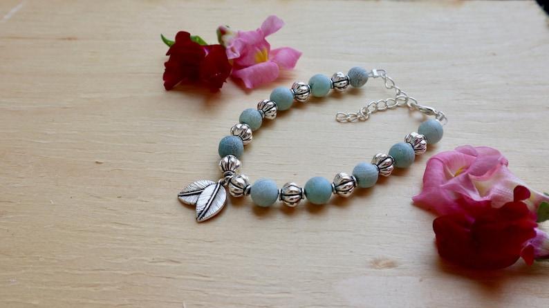 gift for girlfriend charm bracelet Leaf charm bracelet blue beaded bracelet unique present nature lover gift boho jewelry gypsy