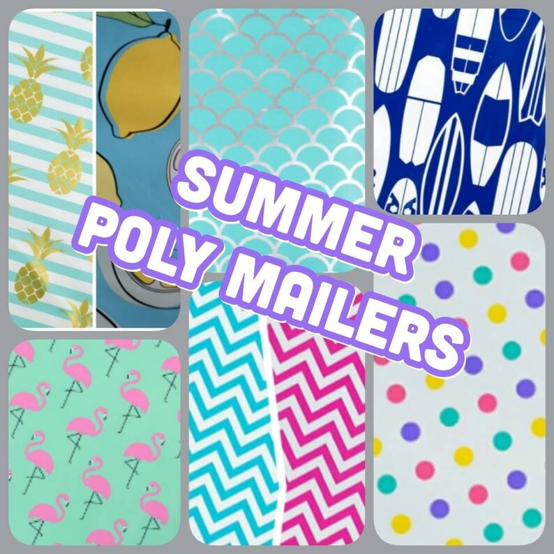 Designer Summer Poly Mailers 10 x 13 Envelopes Shipping image 0