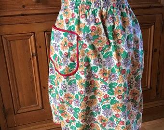 Vintage Floral Half Apron with Smocking
