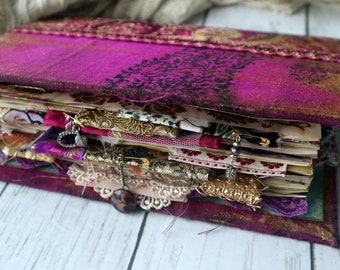 Pretty In Purple - Gold  Floral Vintage Junk Journal