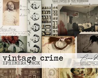 Digital Download Vintage Crime Ephemera Pack