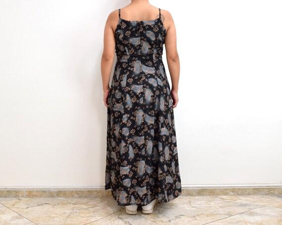 90s Slip Dress Black Floral Grunge Maxi Dress - image 7