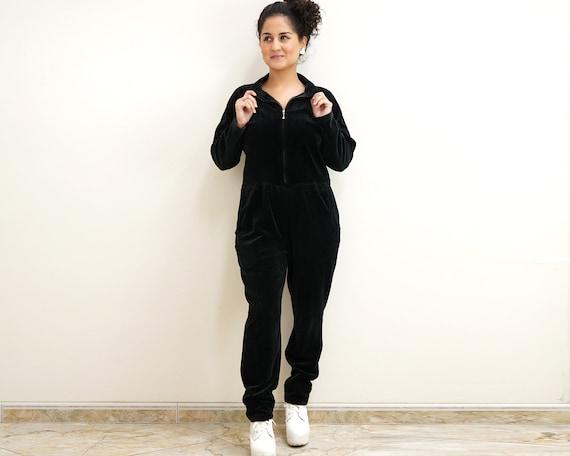 80s Black Velvet Jumpsuit Size Petite