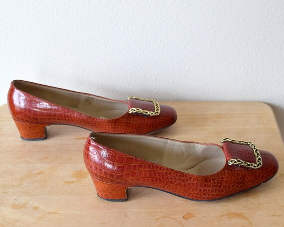 60s Alligator Leather Pumps Mod Shoes Size 8 B - image 8