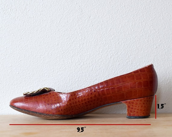 60s Alligator Leather Pumps Mod Shoes Size 8 B - image 9