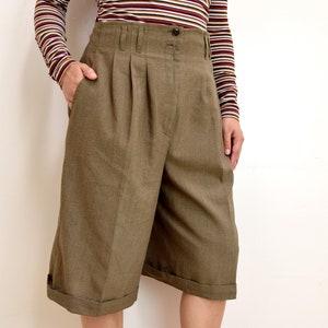 90/'s High Waisted Polka Dot Shorts Wide Leg Grunge Minimalist Silk Dotted Flowing Culottes Skirt Skort S