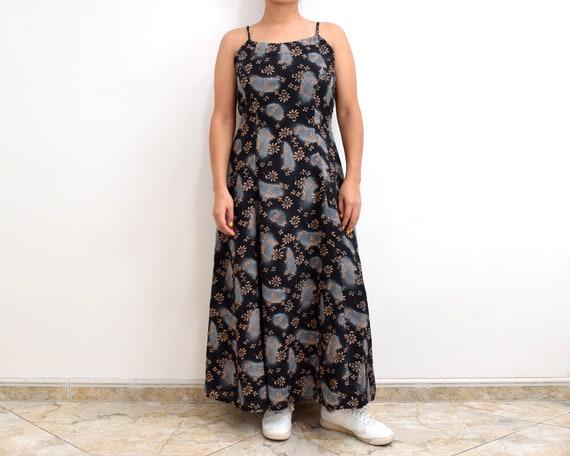 90s Slip Dress Black Floral Grunge Maxi Dress - image 2
