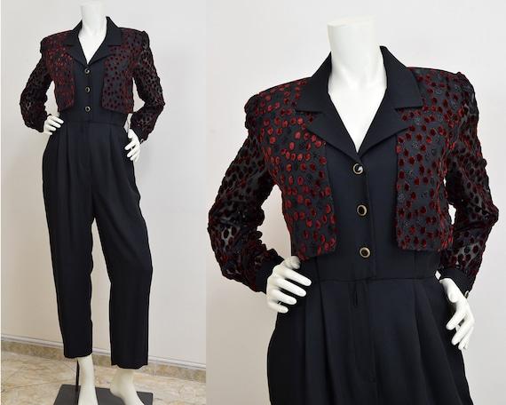 Vintage Black Formal Jumpsuit Petite