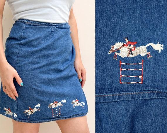 Horse Riding Hand Painted Denim Mini Skirt
