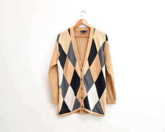 Lizsport Argyle Sweater Button Up Cardigan Unisex
