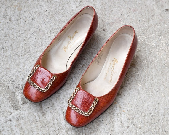 60s Alligator Leather Pumps Mod Shoes Size 8 B - image 2