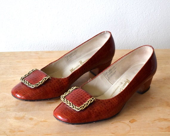60s Alligator Leather Pumps Mod Shoes Size 8 B - image 3