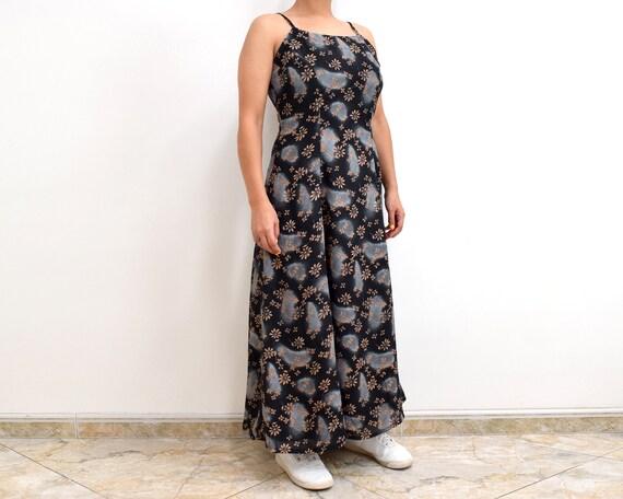 90s Slip Dress Black Floral Grunge Maxi Dress - image 3
