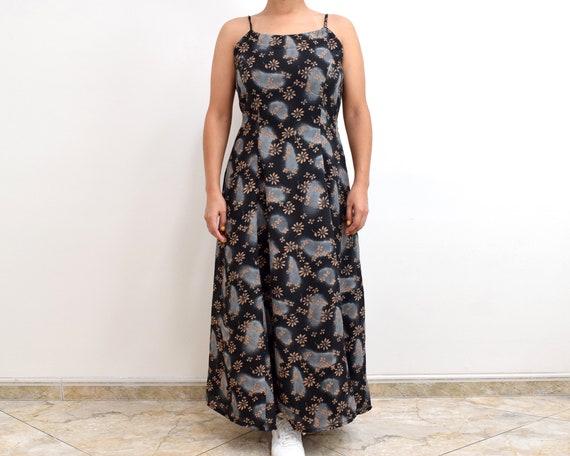 90s Slip Dress Black Floral Grunge Maxi Dress - image 5