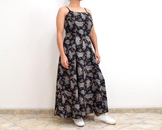 90s Slip Dress Black Floral Grunge Maxi Dress - image 1