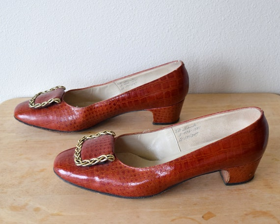 60s Alligator Leather Pumps Mod Shoes Size 8 B - image 5