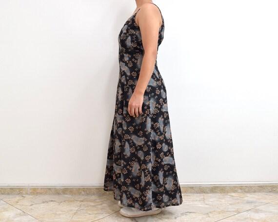 90s Slip Dress Black Floral Grunge Maxi Dress - image 8
