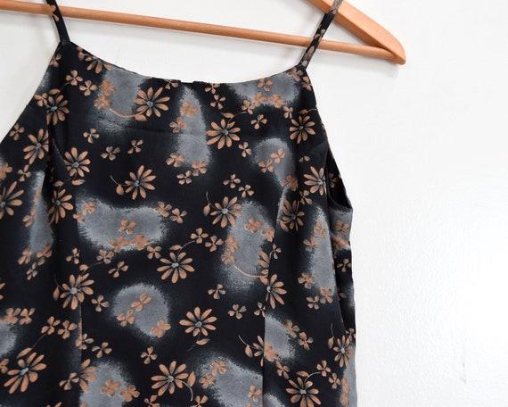 90s Slip Dress Black Floral Grunge Maxi Dress - image 10