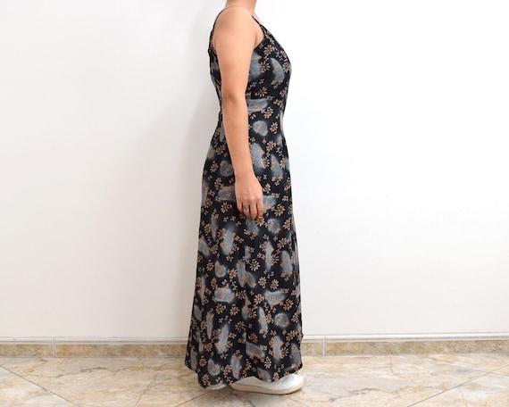 90s Slip Dress Black Floral Grunge Maxi Dress - image 6