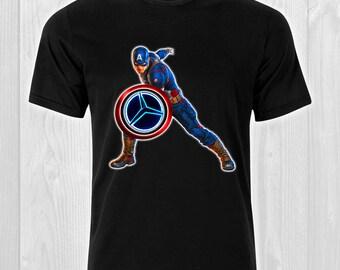 e77ba638d51 Captain America Shield Emblem Mercedes Benz neon Logo   CAR 106 - Cars Man  T-shirt