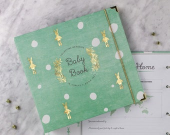 BABY MEMORY BOOK | Caribbean Mint Baby Album | Funny Bunny Modern Baby Journal | Baby Shower Gift | Baby Book