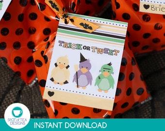 Trick or Tweet Halloween Favor Tags   Halloween Party Printable   Halloween Tag   Halloween Printable   INSTANT DOWNLOAD