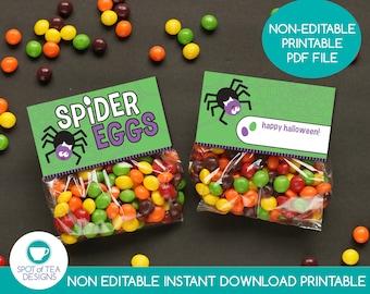 Spider Eggs Halloween Bag Toppers   Halloween Treat Bags   Halloween Candy Printable   Halloween Party Printables   INSTANT DOWNLOAD
