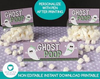 Ghost Poop Halloween Bag Toppers   Halloween Candy Bags   Halloween Treat Bags   Halloween Party Printables   INSTANT DOWNLOAD