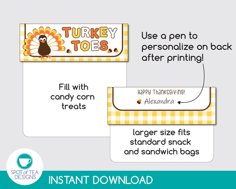Thanksgiving Place card Candy Corn Tag Turkey Toes Bag Toppers INSTANT DOWNLOAD Thanksgiving Treat Bags Thanksgiving Printable