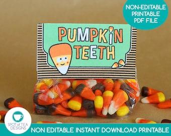 Pumpkin Teeth Halloween Bag Toppers   Halloween Treat Bags   Candy Corn Printable   Halloween Party Printables   INSTANT DOWNLOAD
