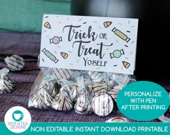 Trick or Treat Yo'self Halloween Bag Toppers   Trick or Treat Yourself   Halloween Party Printables   INSTANT DOWNLOAD
