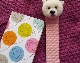 Pompom dog bookmark, Animal Bookmark, Pompom animal, pompom gift, PomPomFairyArt