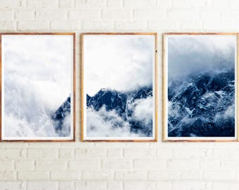 Set Of 3 Mountain Print, Printable Poster, Clouds Print, Mountains Wall  Print, Modern Wall Art, Mountains, Clouds, Home Decor, Triptych