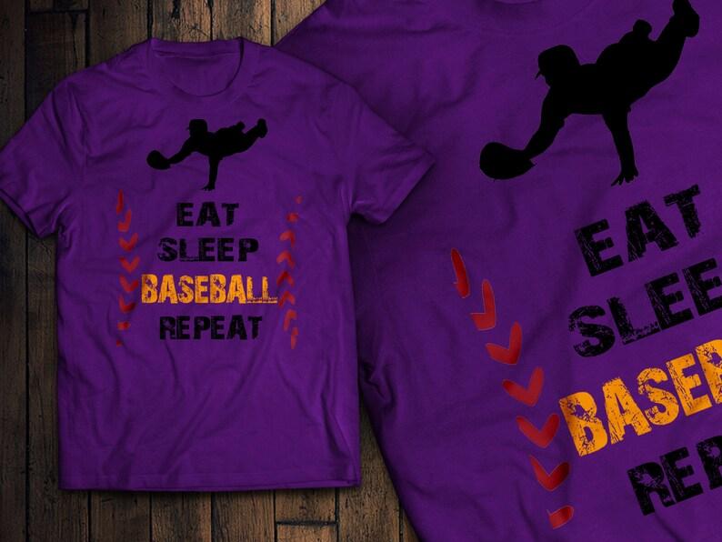 c312dd3e5 Eat Sleep Baseball Repeat T-Shirt   Etsy