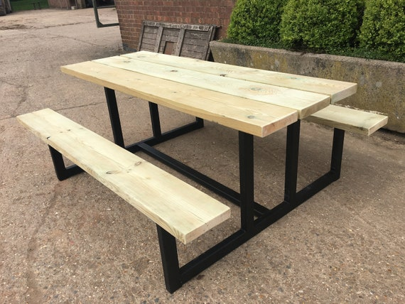 Phenomenal Industrial Style Outdoor Dining Bench Set Ibusinesslaw Wood Chair Design Ideas Ibusinesslaworg