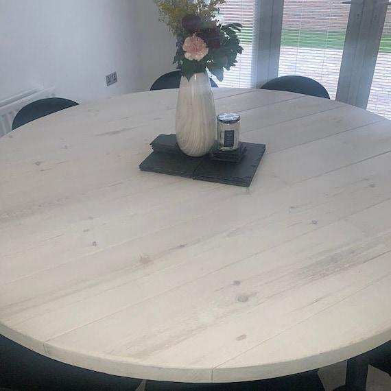 Round Whitewash Dining Table, Whitewashed Round Dining Table