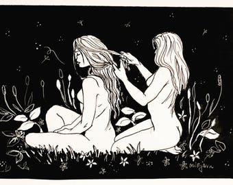 Women in Secret Garden - original art