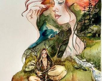 Gaia , mother original watercolour watercolor painting print of mountains , bears , an indigenous woman surrounded by female energy.
