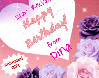 Personalized Birthday Card For Her Download Animated GIF Sparkles Facebook Happy Digital E