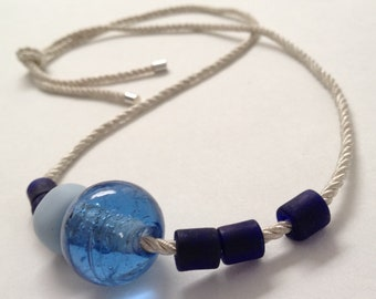 Rope necklace beaded silver trimmings XL handmade glass blue, sky blue, midnight, made in France