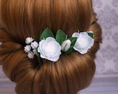 Bridal hair flower White rose & gypsophila hair pins Flower accessories Real touch flower White wedding Bridesmaid White small flowers
