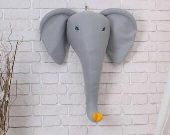Gray elephant head animal head nursery decor elephant head animal head wall faux taxidermy magical decor elephant trophy tribal decor