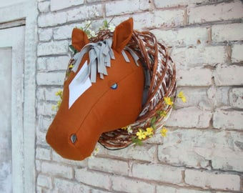Horse faux taxidermy horse head cowboy decor animal head nursery decor animal head wall faux taxidermy horse trophy horse decor