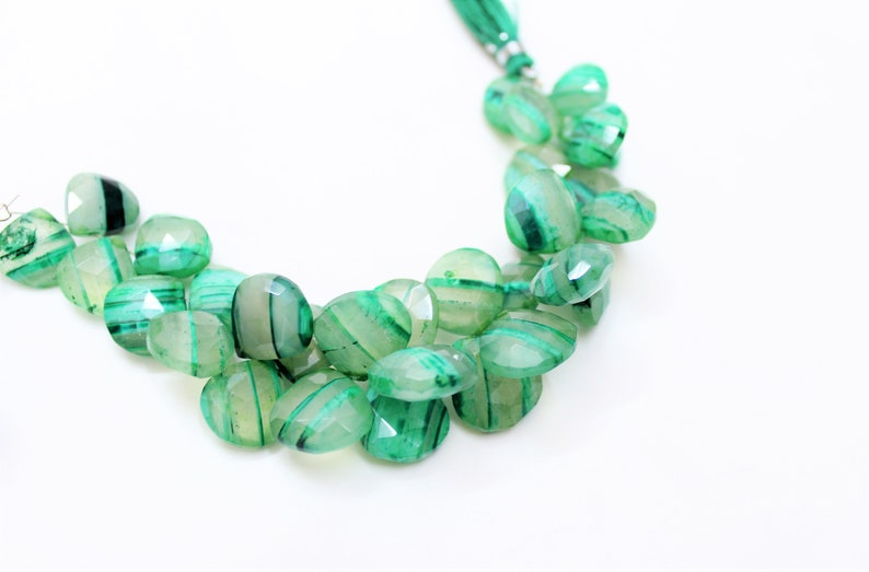 6.5nchs Green Boulder opal Faceted long Heart shape 11 mm to 17 mm briolettes loose gemstone beads,Opal gemstone for jewelry,